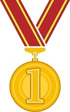 勝利のイメージでもある金メダルの画像