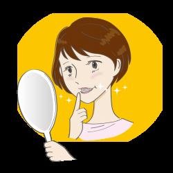 きらきら輝いている歯を鏡で見つめている女性の画像
