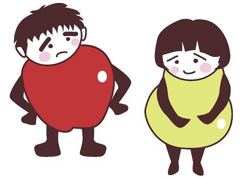 洋ナシとリンゴ体型の脂肪を蓄えすぎた男女のイラスト画像